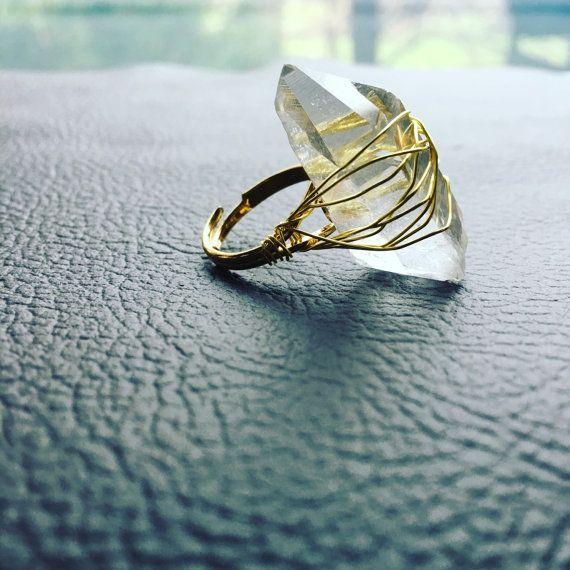 Raw Quartz cocktail ring / quartz statement by theFaintofHeart