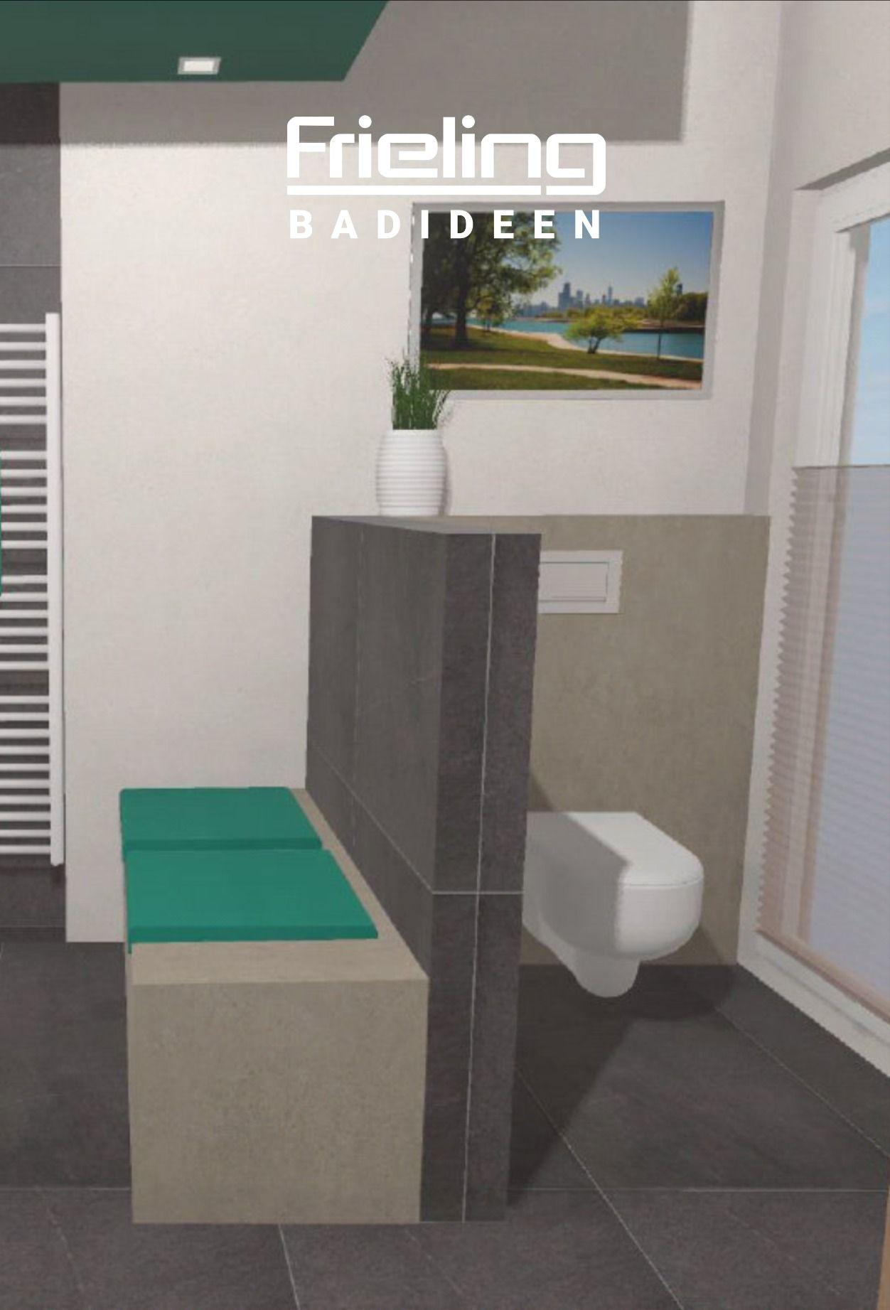 Abtrennung Als Sichtschutz Sitzbank Im Badezimmer Aufteilung In Bereiche Nischennutzung In 2020 Badezimmer T Wand Sitzbank Bad Duschnische