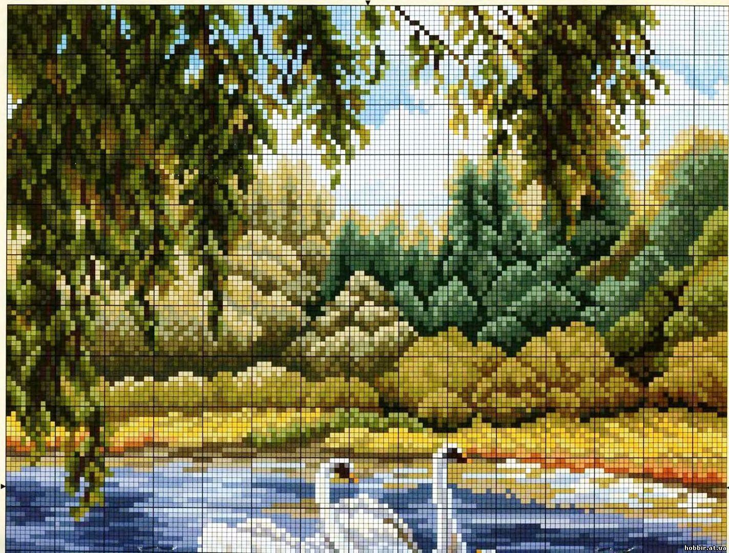 Схема вышивки природа и пейзажи красивые