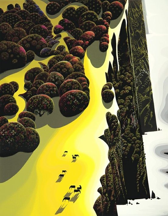 Eyvind Earle - love his work...! He worked in oil, water color, scratch board, he sculpted and  his work started when he was ten.  His  view of the world is unique. He sees from a new vantage point and it is off in some strange way but is brought back together in some strange way.