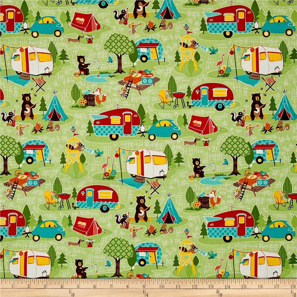 Riley Blake Road Trip Main Green Camping Fabric Quilts Retro Fabric