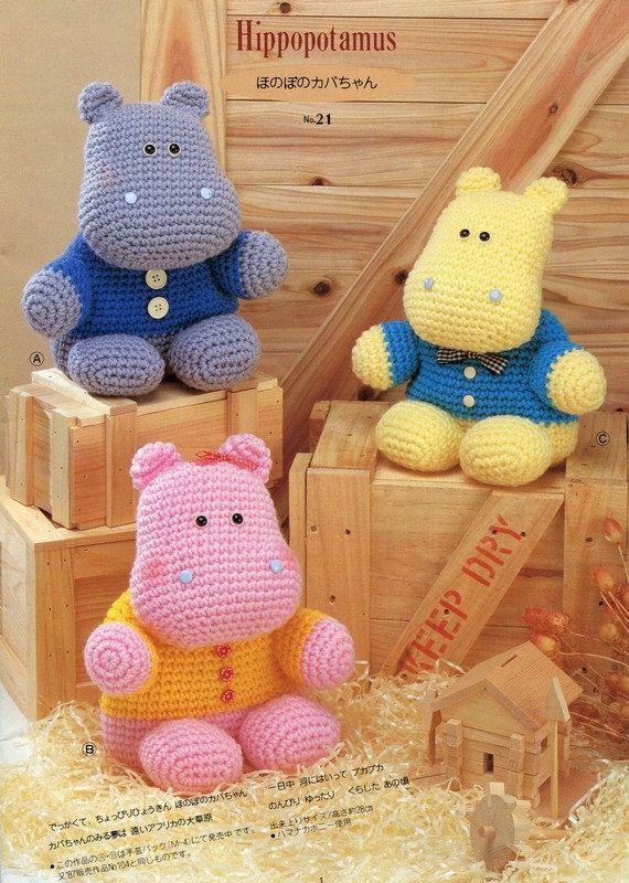 ENGLISH Amigurumi Big Hippo Plush Crochet Pattern PDF   Hipopótamo ...