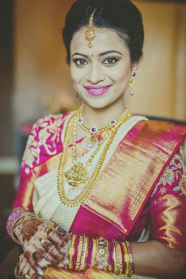 South Indian bride in silk saree and gold jewellery. | sarees ...