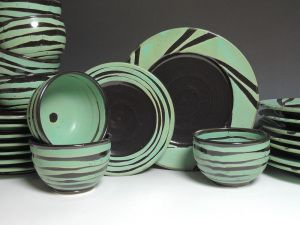 Gorgeous green and black handthrown pottery by Marian Baker & Gorgeous green and black handthrown pottery by Marian Baker ...