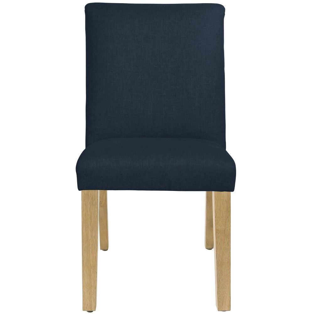 Stupendous Parsons Dining Chair Linen Navy With Natural Legs Ncnpc Chair Design For Home Ncnpcorg