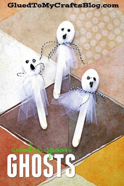 Tulle Wooden Spoon Ghosts - Kid Craft Family Fun Activities/Kid - halloween kids craft ideas