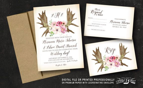 Rustic Wedding Invitation Set Moose Antler Horns By Alwaysbbrave