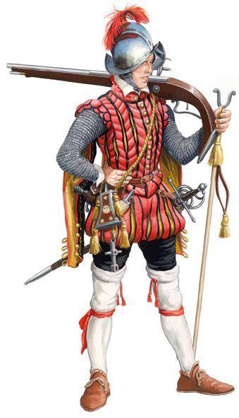 Arcabucero español, 1571. | Tercios españoles, Militares