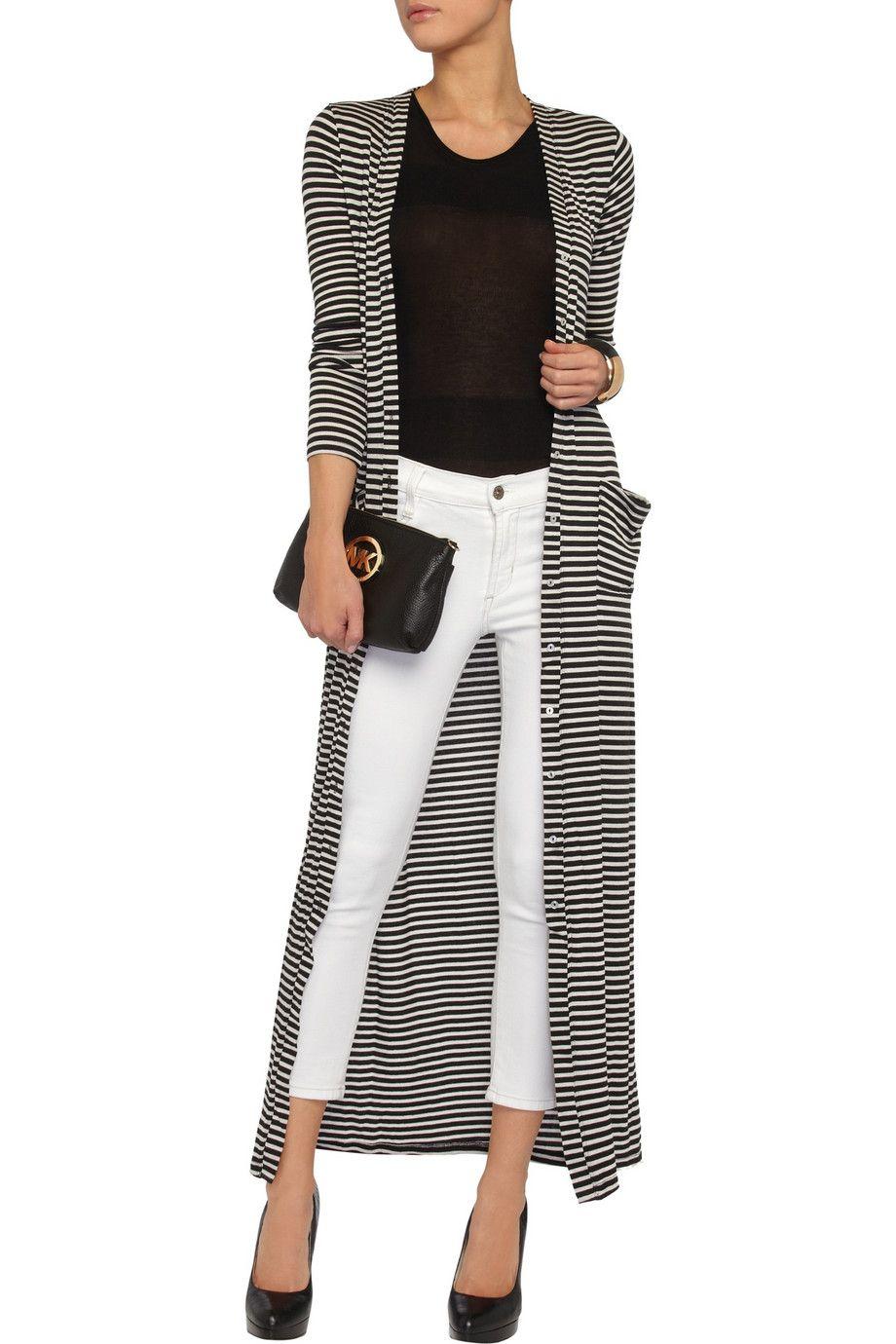 Tart Cleo striped ribbed-jersey maxi cardigan | Closet fashion ...