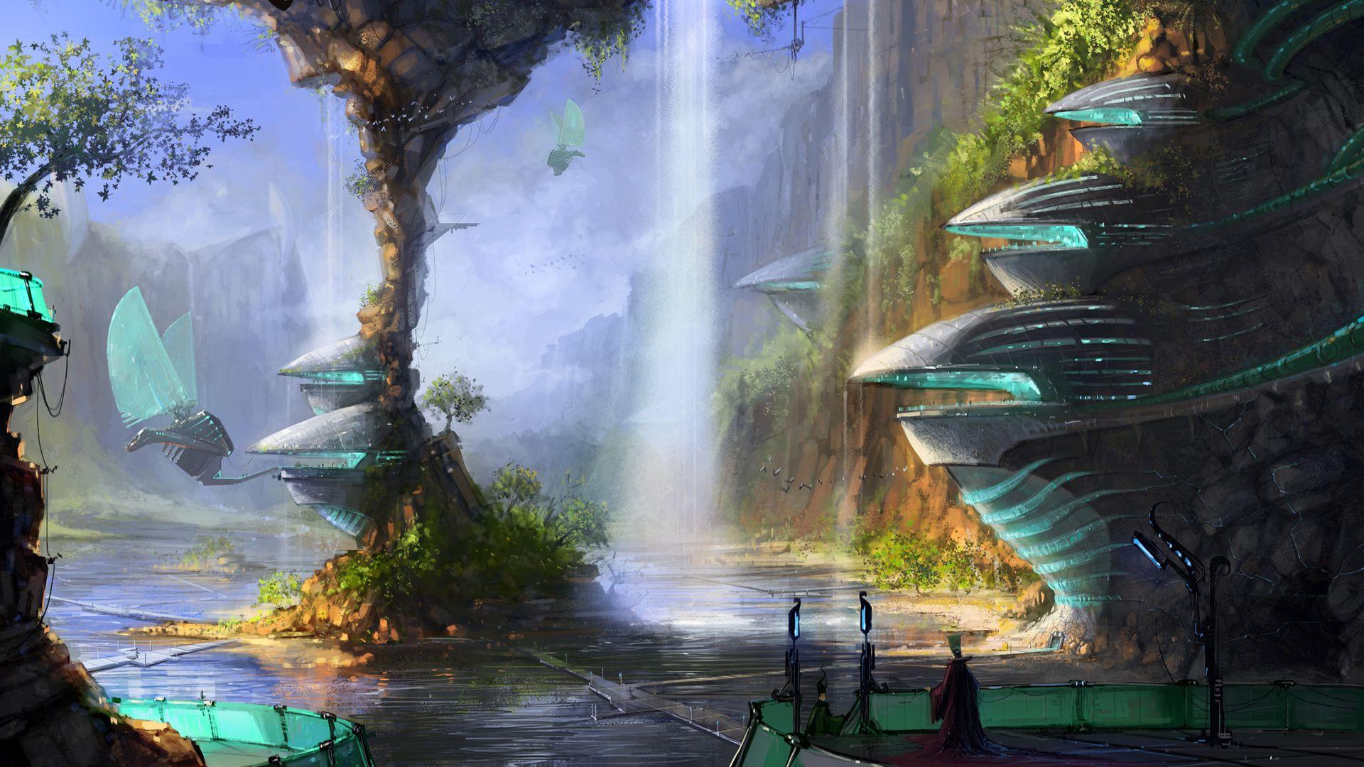 Solarpunk Wallpaper Fantasy Landscape Fantasy City Surreal Art