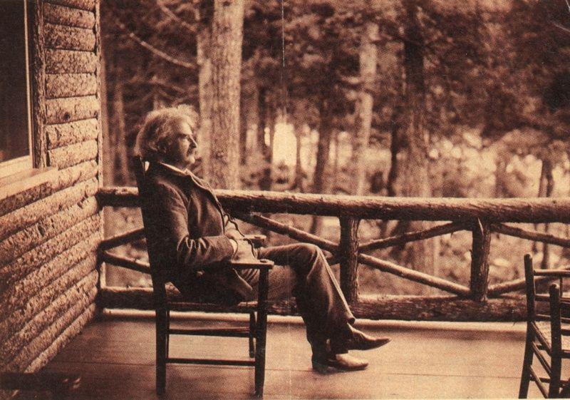 Mark Twain On The Porch Of His Camp At Saranac Lake, NY.