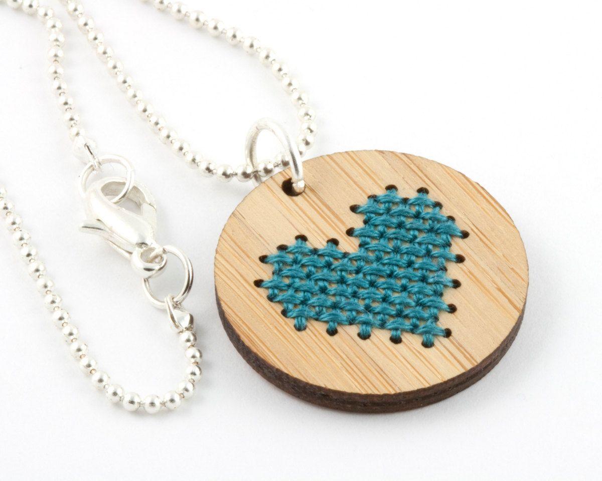 DIY Cross Stitch Necklace Kit, Bamboo Heart Pendant via Etsy.