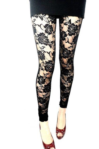 8260a6930e6 Lace PU Rose Leggings