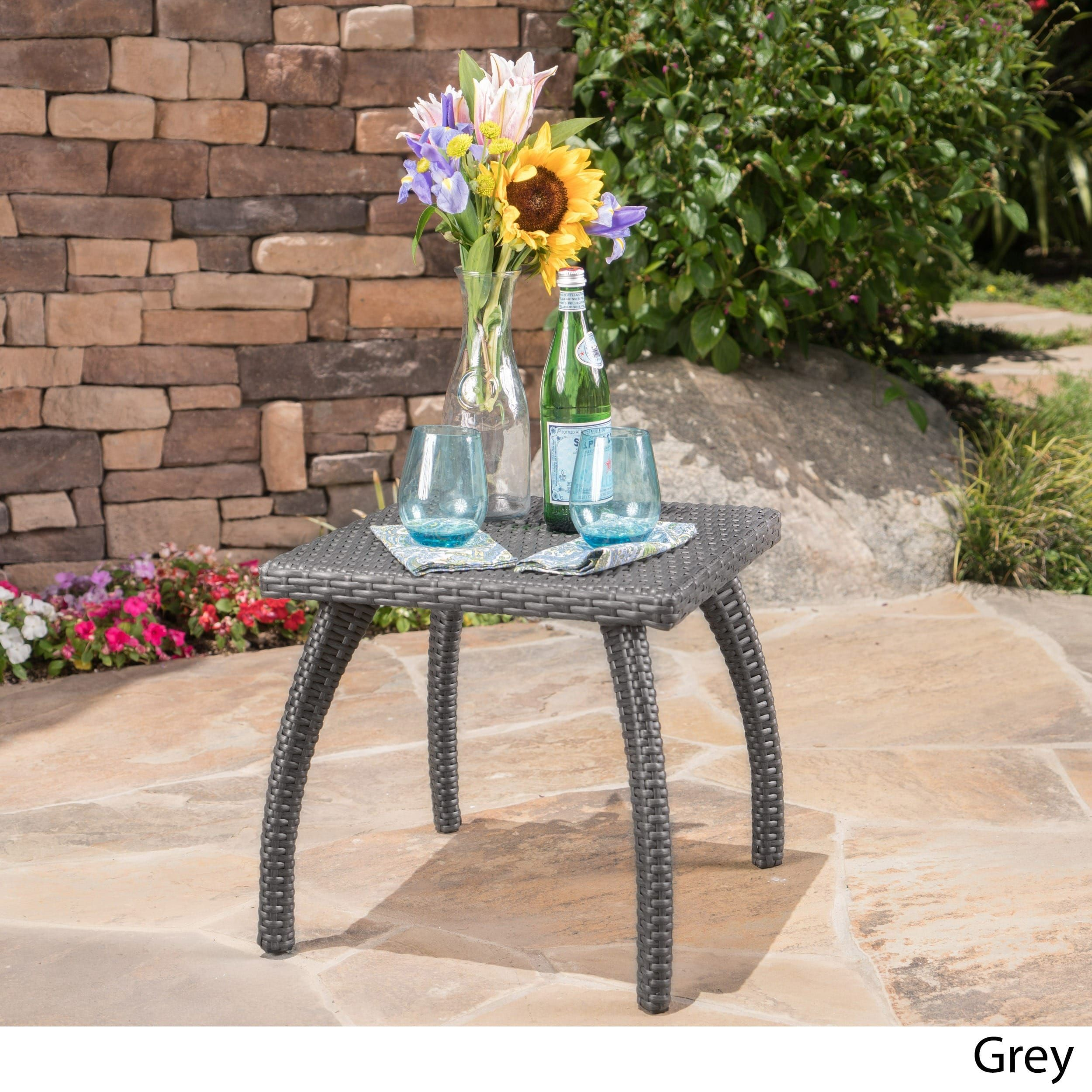 Honolulu Outdoor Wicker Side Table By Christopher Knight Home Grey - All weather wicker side table