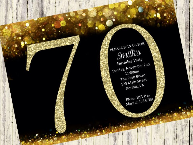 70th Birthday Invitation, Gold Glitter Birthday Party Invite ...