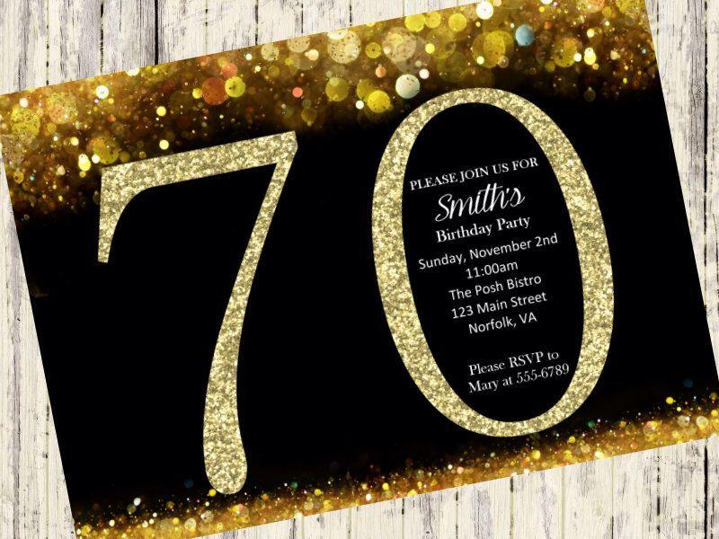 70th birthday invitation, gold glitter birthday party invite, Birthday invitations