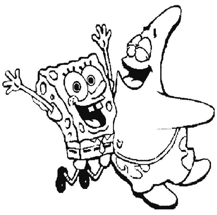 Spongebob And Patrick Happy Coloring Page Spongebob Cartoon