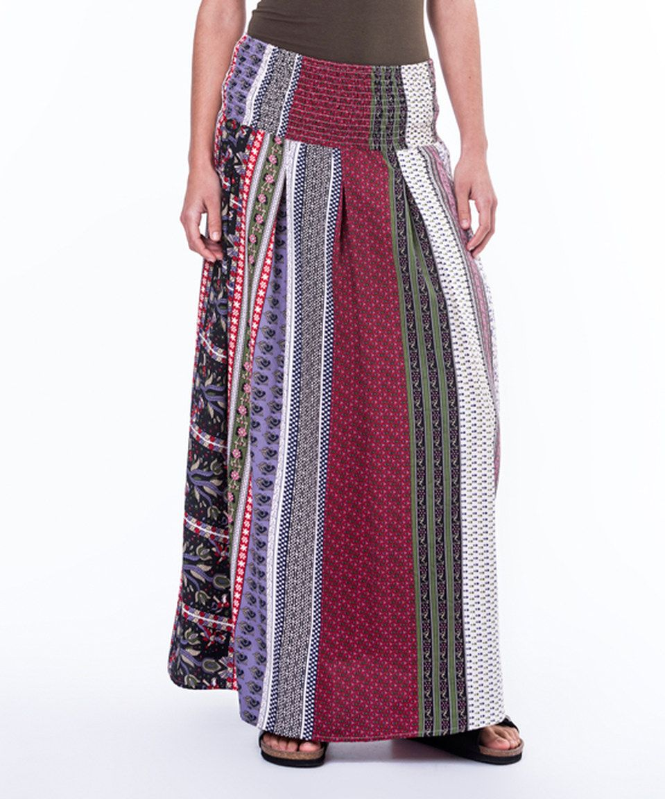 6d854cc19d Mahal Moda Burgundy & Blue Stripe Maxi Skirt - Plus Too by Mahal Moda # zulily #zulilyfinds