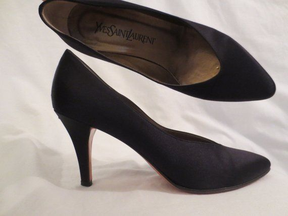 34ee749d6 YVES SAINT LAURENT classic black satin heels #vintage #shoes #heels  #designer #madeinitaly #YSL #highheels #johnnybombshell #yvessaintlaurent
