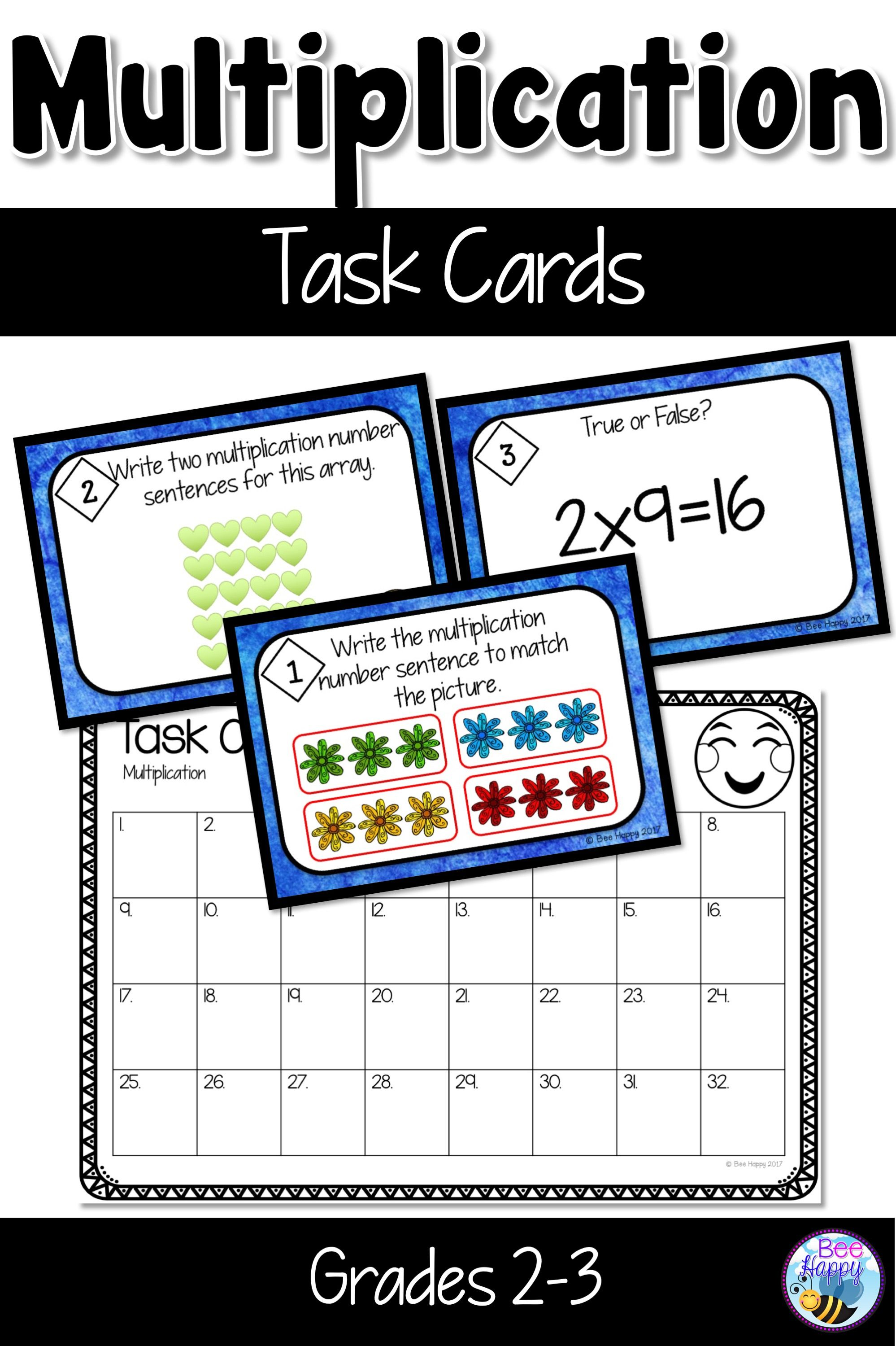 32 Task Cards For Review And Consolidation Of Multiplication For Grade 2 And 3 Great For Math Centers Sco Multiplication Task Cards Task Cards Multiplication [ 3000 x 1998 Pixel ]