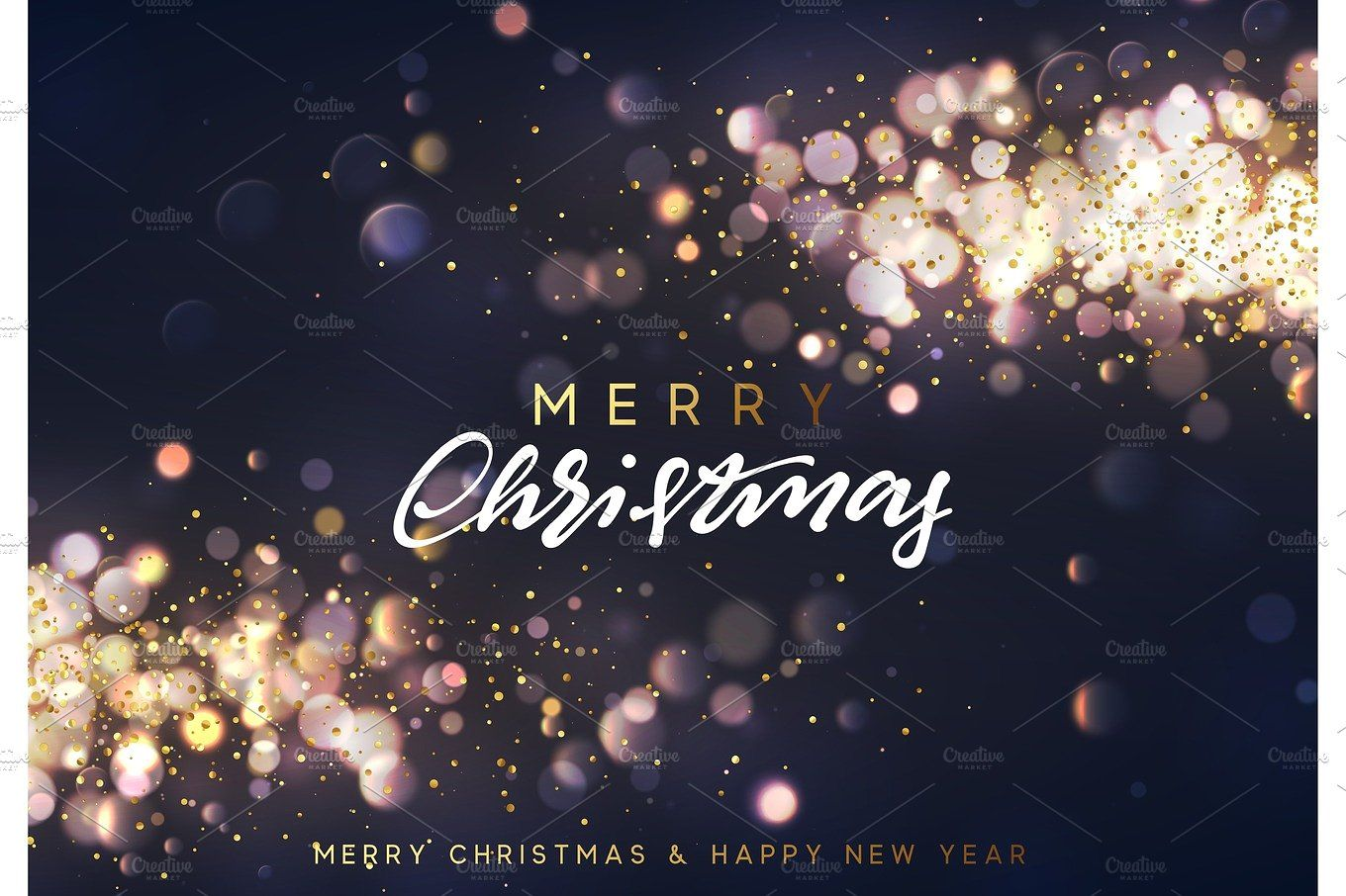 Christmas Background With Golden Lights Bokeh Xmas Greeting Card