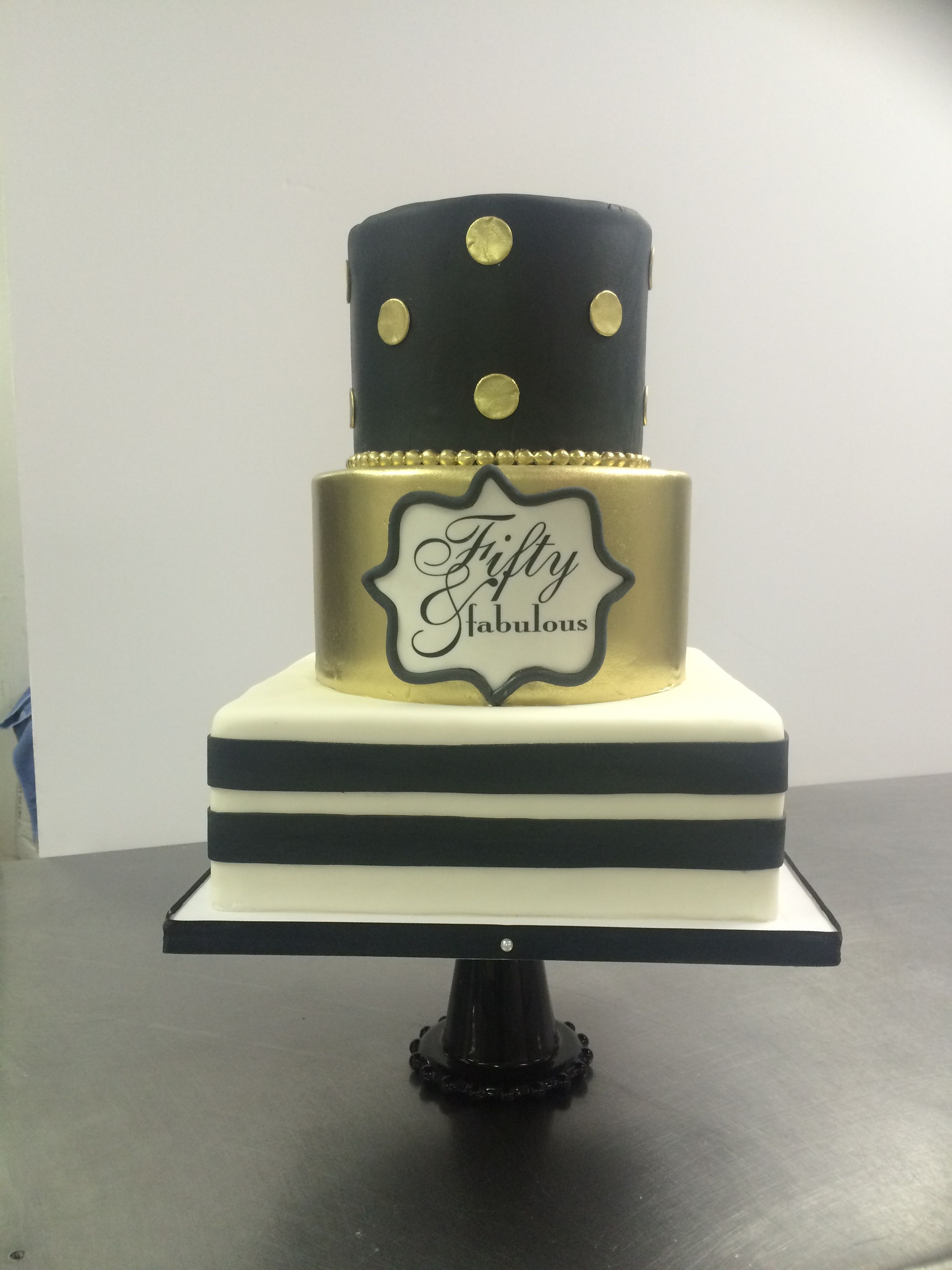 Fifty Very Fabulous Gold And Black Cake Birthday Cake