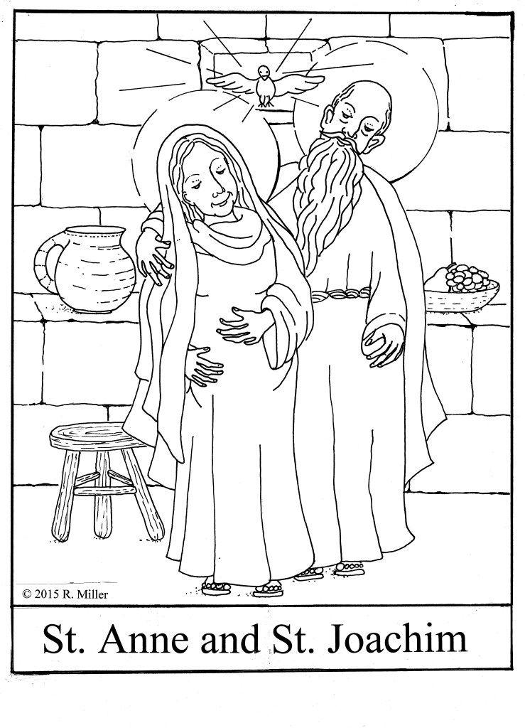 Saint Anne and Saint Joachim © 2015 R Miller coloring page