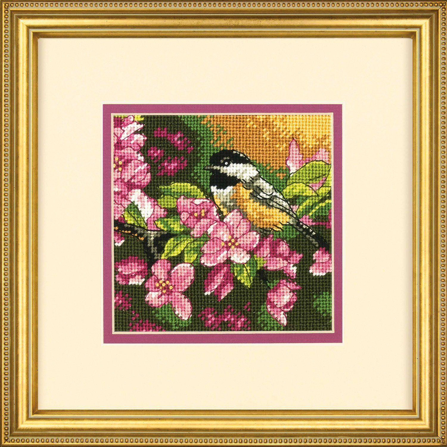 Amazon Com Mini Needlepoint Chickadee In Pink Arts Crafts Sewing Needlepoint Kits Arts And Crafts Supplies Beginner Knitting Patterns