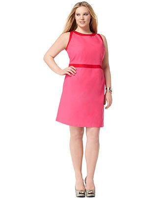 Tahari Woman Plus Size Dress Anita Sleeveless Colorblocked Sheath