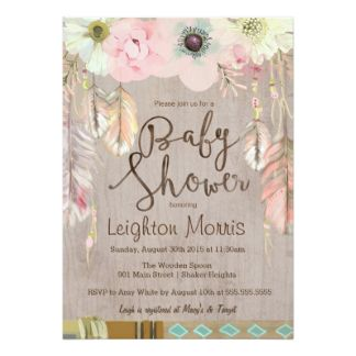 Boho Baby Shower Invitation Tribal Feather Rustic Card
