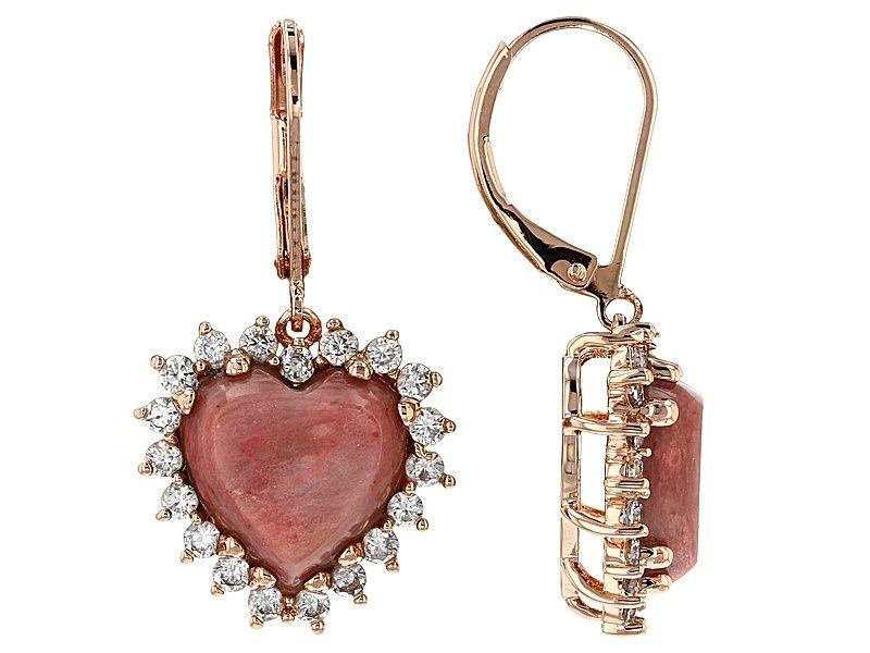 Rhodonite Dangle Earrings Rhodonite and Copper Earrings Pink Earrings