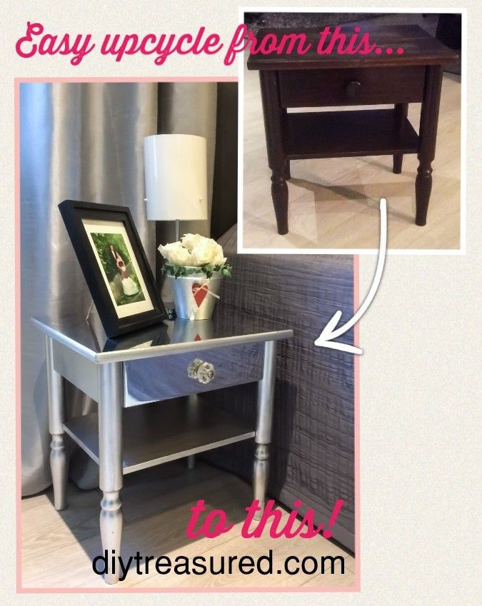 Mirror And Painted Bedside Table: Bedside Table Makeover