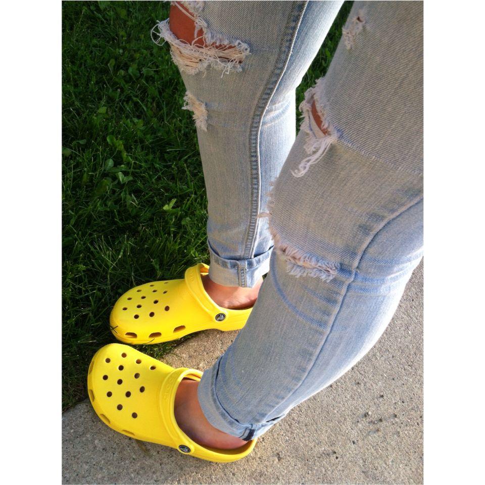 Yellow crocs, Crocs fashion, Crocs shoes