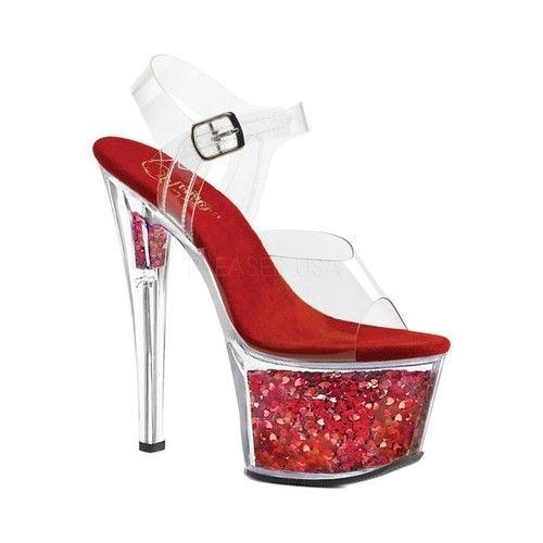 fbddd94ced4 Women's Pleaser Sky 308GF Ankle Strap Sandal - Clear/Red Glitter ...