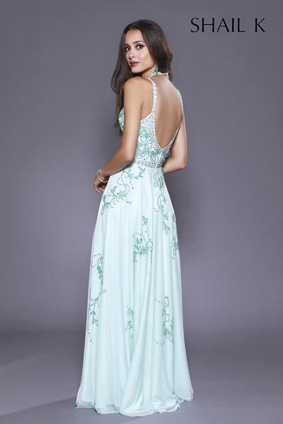 Halter Style Low Back Embellished Fit To Flare Tiffany Prom Dress