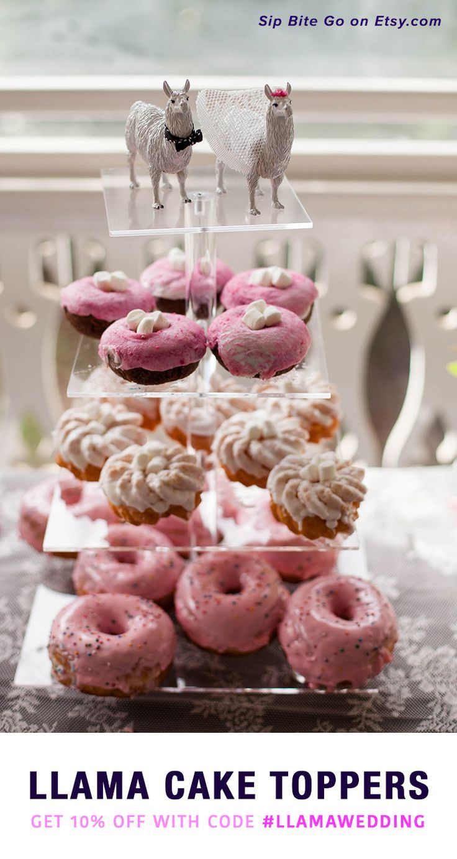 Llama wedding cake toppers custom made bride and groom
