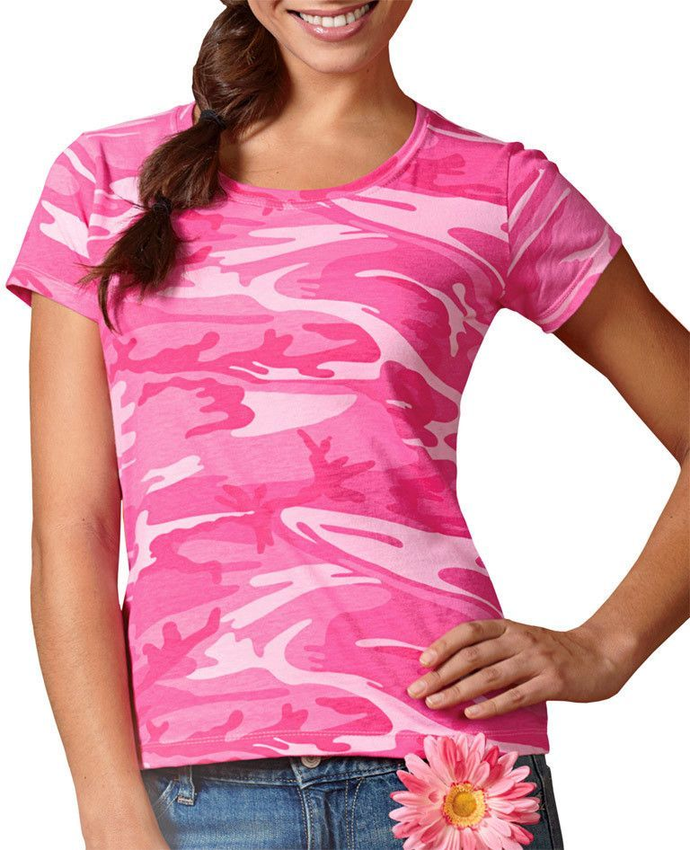 code five ladies' fine jersey camouflage t-shirt - pink woodland (s)