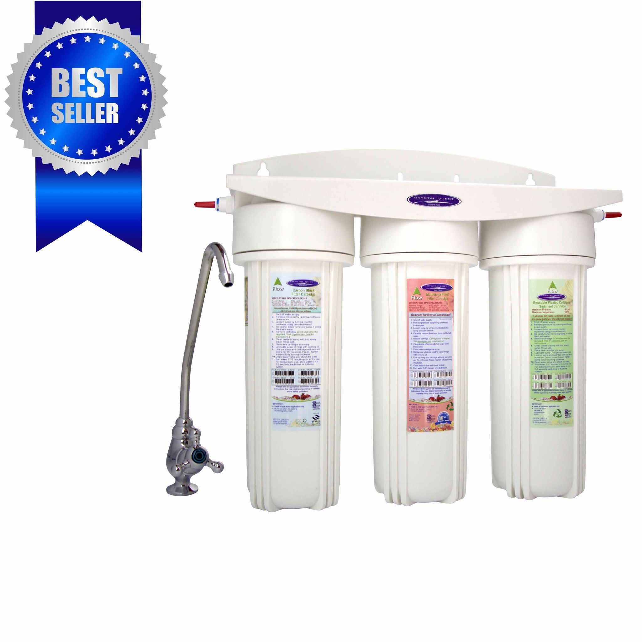 Fluoride Removal Triple Under Sink Water Filter System