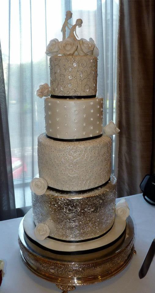 Silver Diamonds And Pearls Wedding Cake