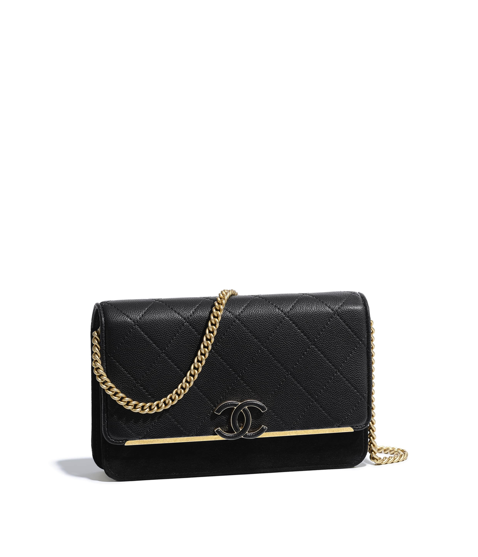 92d181a7d571 Grained Calfskin, Suede Calfskin & Gold-Tone Metal Black Flap Bag | CHANEL
