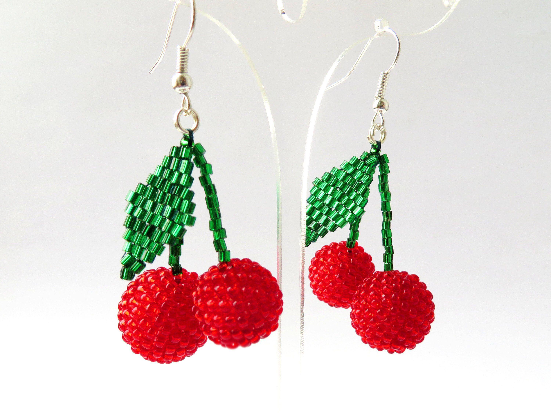 Two Red Cherry Earrings Bon Bon Earrings Les Bonbon Earrings