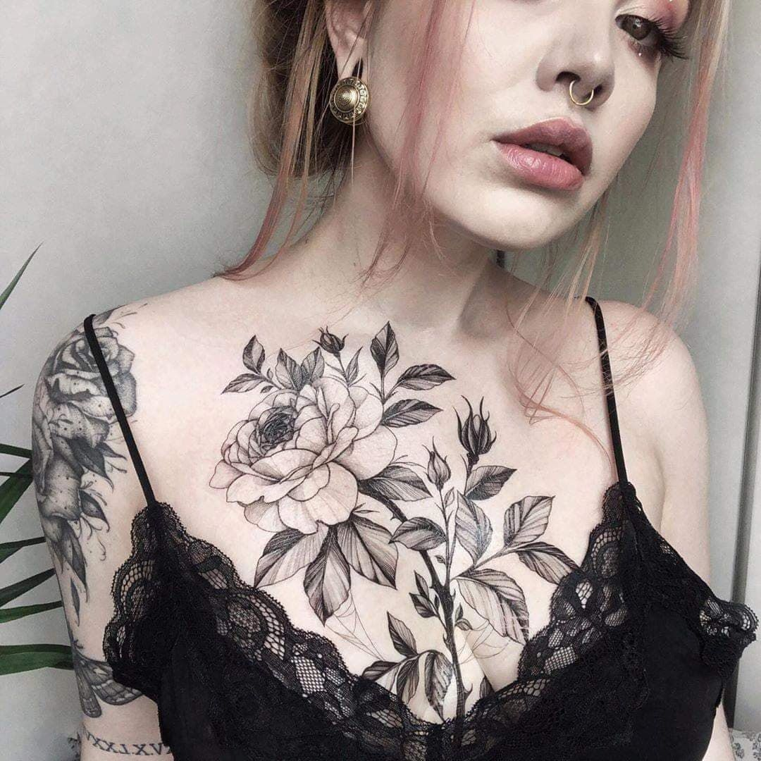 Floral Chest Tattoo Black And White Chest Tattoos For Women Chest Piece Tattoos Cute Tattoos