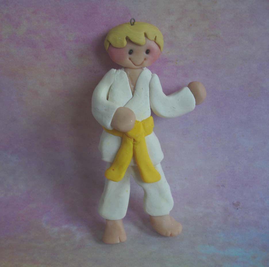 Karate christmas ornament - Karate Martial Arts Christmas Ornament Gi Black Yellow Belt Handcraft Polymer Clay Milestone Personalize Boy Tae Kwon Do Coach Level Advance