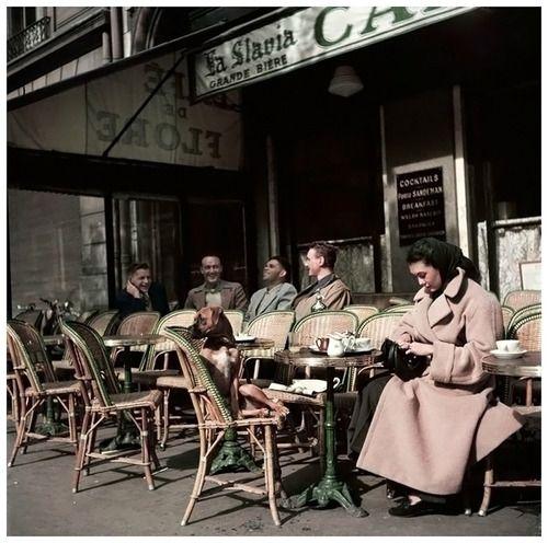 Cafe de Flore, photo by Robert Capa, Paris, 1952