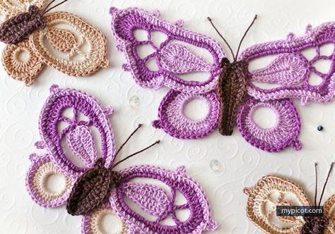 Beautiful crochet butterflies! By MyPicot | Free crochet patterns ...