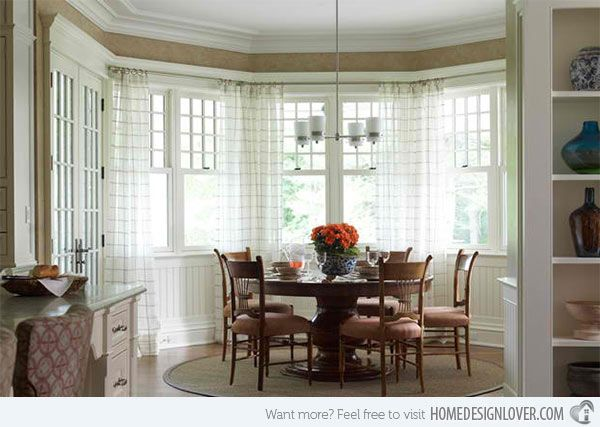 15 Ideas In Designing Dining Rooms With Bay Window Home Design Lover Dining Table In Kitchen Dining Room Window Treatments Traditional Dining Rooms