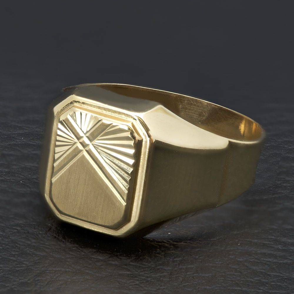 Χρυσό ανδρικό δαχτυλίδι Κ14 με ανάγλυφα σχέδια  13a687f0695