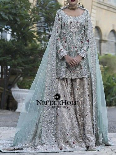 Cambridge Blue Bridal Sharara Dress For Wedding And Reception ...