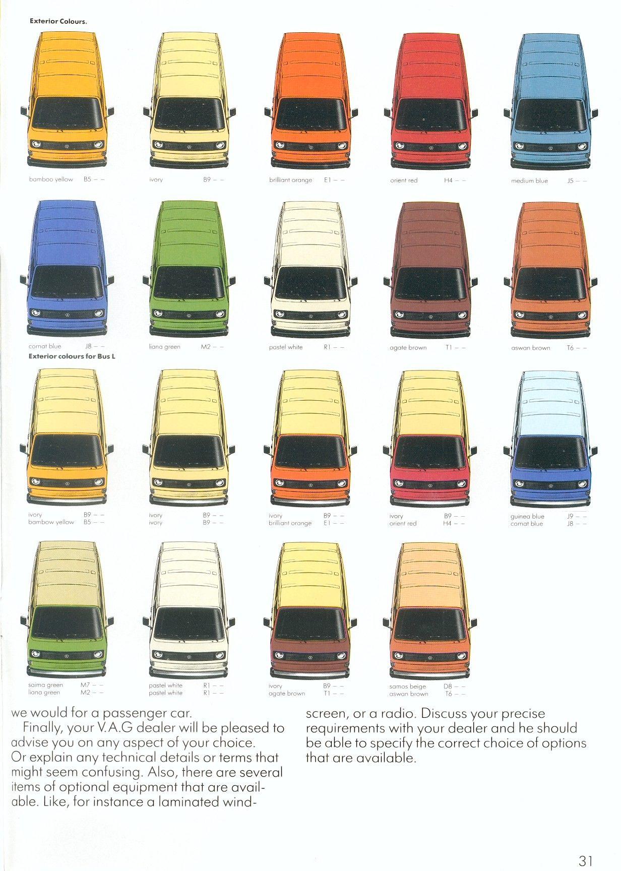 Paint t25 paint codes / colour chips - VW Forum - VZi, Europe's