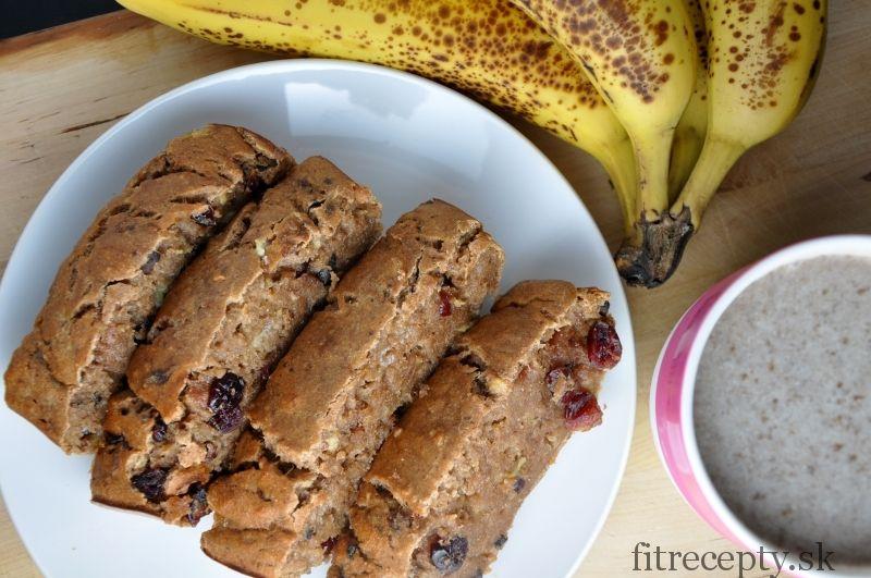 Výborný, vláčny banánový chlieb bez cukru a tuku, jednoduchý na prípravu. Dá sa pripraviť s proteínom aj bez neho. Skvelo sa hodí na raňajky. Ingrediencie (10 krajcov): 1,5 hrnčeka celozrnnej múky 1/4 hrnčeka (40g) proteínového prášku – neochutený, vanilkový, čokoládový.. (môžete nahradiť špaldovou múkou) 3 zrelé banány 2/3 hrnčeka mlieka 2 vajcia (alebo 2PL ľanovej […]